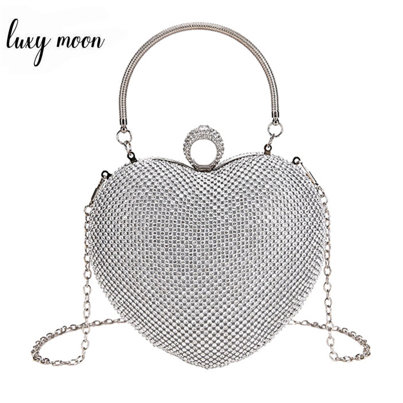 Heart Shape Women Clutch Bag Luxury Full Diamond Wedding Handbags Purse Finger Ring Day Clutches Small Handle Chain Shoulder Bag