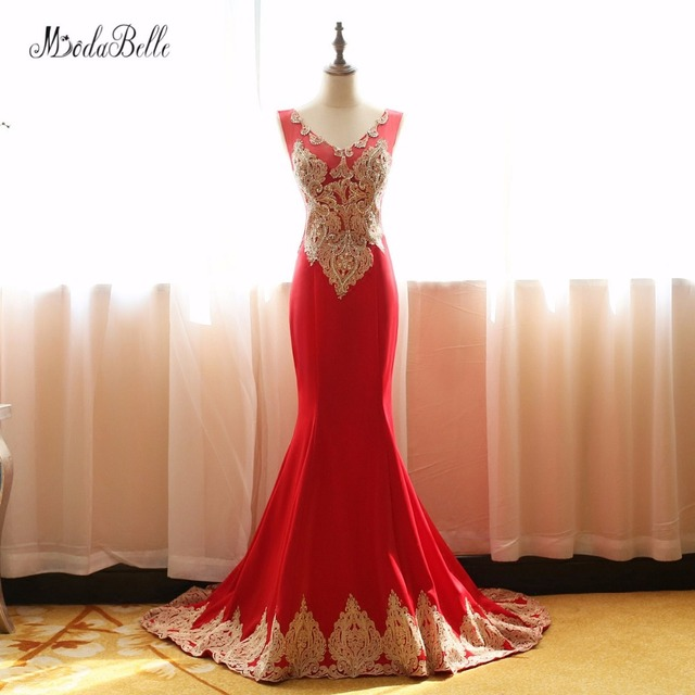 modabelle Red Long Elegant Mermaid Prom Dresses 2018 With Appliques ...