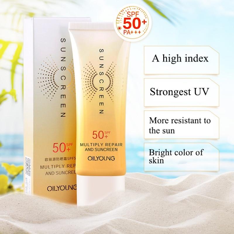 2019 Natural Facial Sunscreen Whitening Cream Sunblock Skin Protective Cream Anti-Aging Oil-control Moisturizing Long Lasting