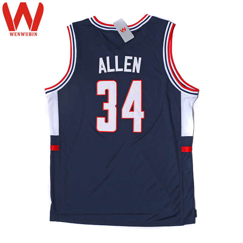 e796211f8 ... WENWUBIN Mens 34 Ray Allen Embroidered Throwback Basketball Jerseys  Color Blue White ...