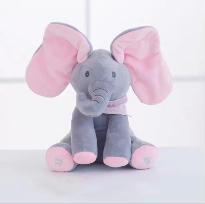 30cm Play Music Elephant 2017 Electric Elephant Peek a boo Plush Soft font b Toy b