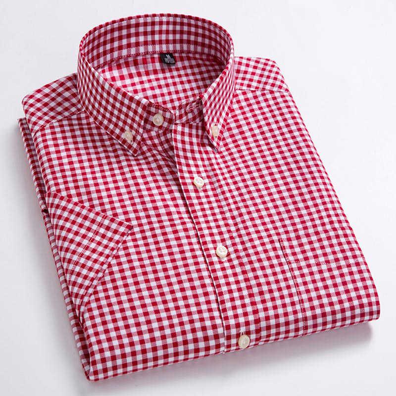高品質メンズオックスフォードカジュアルシャツレジャーデザインのチェック柄男性の社会シャツ綿 100% 半袖メンズドレスシャツ