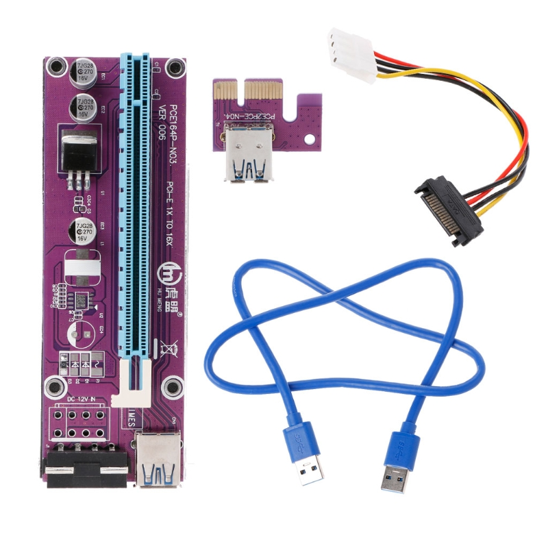 pci 1620a data acquisition card 100 2017 New 60cm PCI Riser Card PCI-E 1x to 16x Extender with USB 3.0 data Cable+SATA to 4Pin IDE Molex Power Supply PURPLE/BLACK