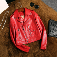 Exquisite women's 2018 autumn Korean version of the new red PU lapel Slim female jacket Heather Long Sleeve Fashion Jacket coat