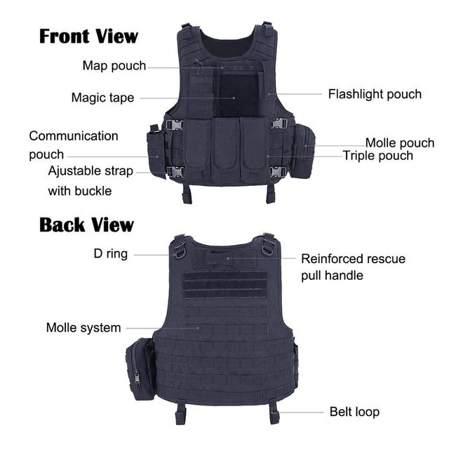 MGFLASHFORCE Airsoft Tactical Vest Plate Carrier Swat Fishing Hunting Military Army Armor Police Molle Vest 5