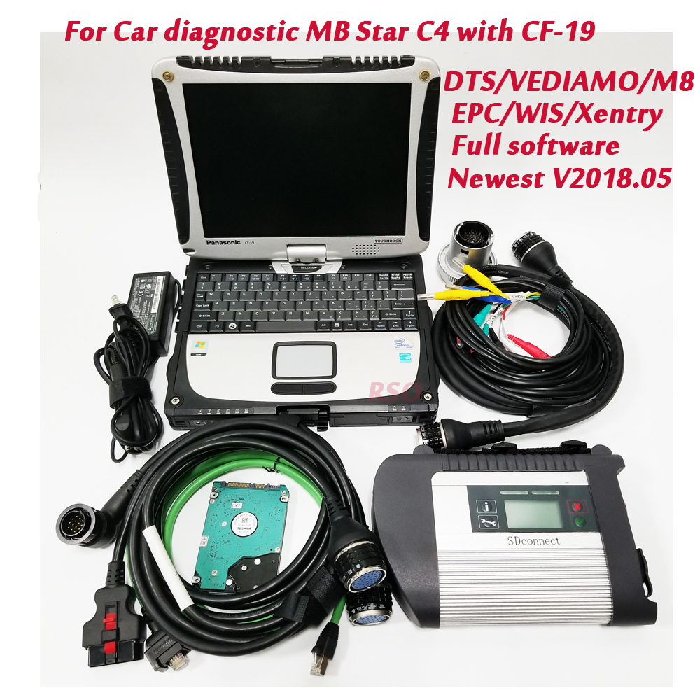MB Star SD Connect C4 Multi-language full software V05.2018 Version with Engineer Developer Vediamo C4 With CF-19 laptop