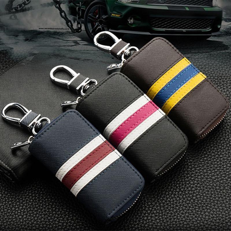 Car key bag fashion British wind color striped wallet leather car square zipper accessories