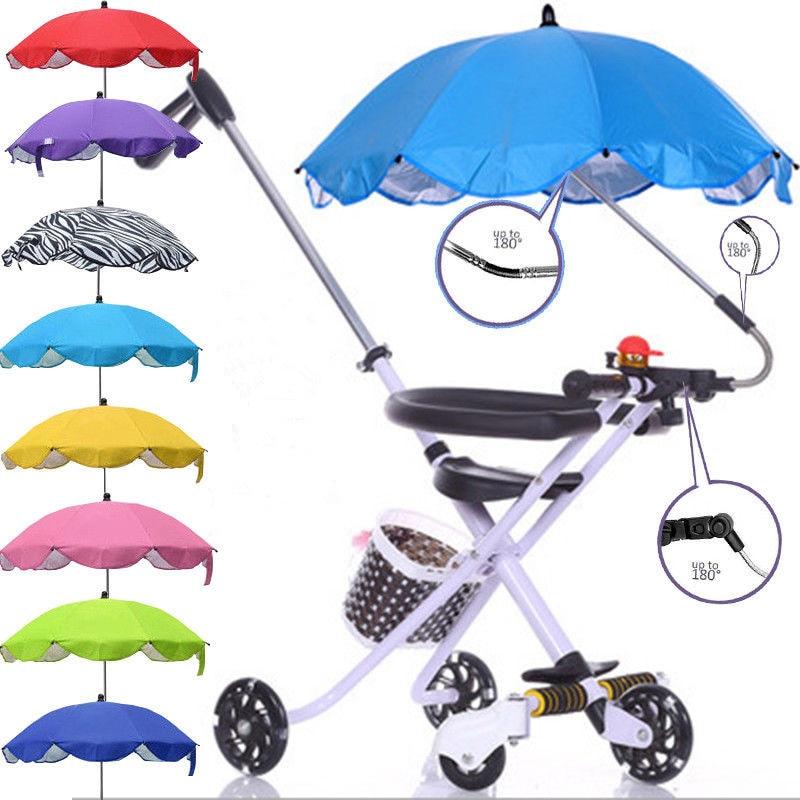 Detachable Stroller Umbrella Adjustable Baby Pram Cover UV Rays Sun Parasol