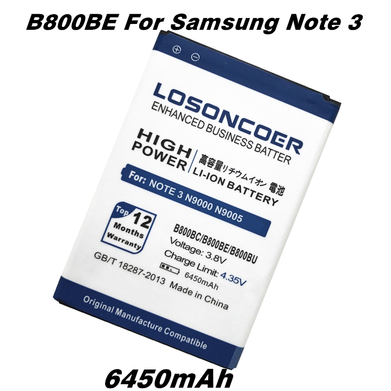 imágenes para B800BC LOSONCOER 6450 mAh B800BE Batería de Alta Capacidad Para Samsung Nota 3 N900 N9002 N9005 N9008 N9000 Batería B800BU Nota III