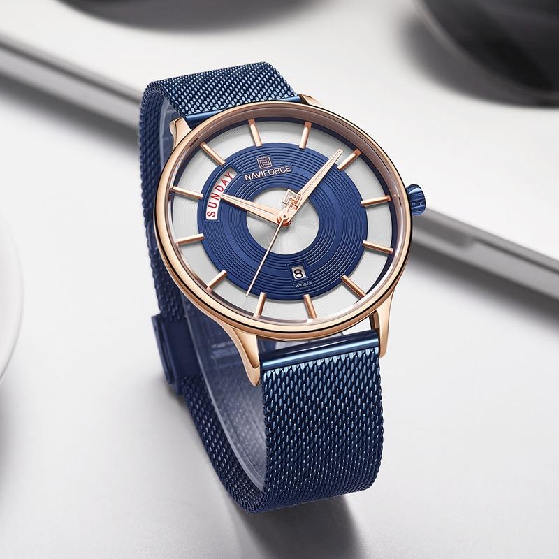 Image 5 - NAVIFORCE New Men Watch Mens Watches Top Brand Luxury Quartz Clock Male Sport Steel Mesh belt Wrist Watch relogio masculino 2019-in Quartz Watches from Watches