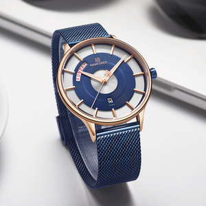 Image 5 - NAVIFORCE męskie zegarki Top marka luksusowa moda męska zegarek kwarcowy siatka stalowa pasek zegarek sportowy mężczyzna Relogio Masculino 2019