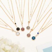 b2e6f40864bd De moda doble capa redondo perla colgante collar de la collar de cristal de  collar largo declaración Color oro gargantilla Boho .