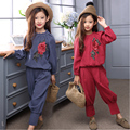 flowers embroidery girls fashion clothing sets 2016 autumn blue red blouses tops loose pants girls clothes suits 2 pieces set