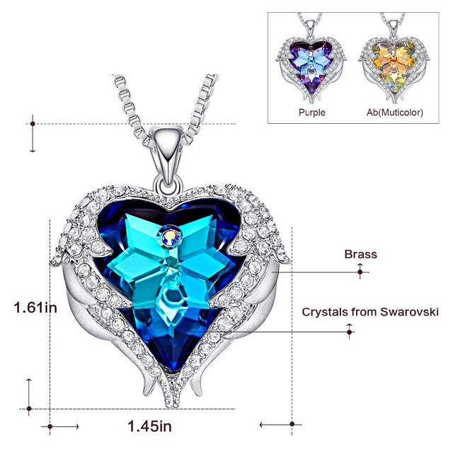 Cdyle Crystals from Swarovski Necklaces Zircon Fashion Jewelry for Women Pendant 2018 Blue Rhinestone Luxury Set Heart Statement 4