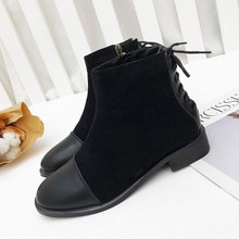 2019 New Winter Boots Women British Style Ankle Low Heel ankle Boot Shoes Hot Sale European Black