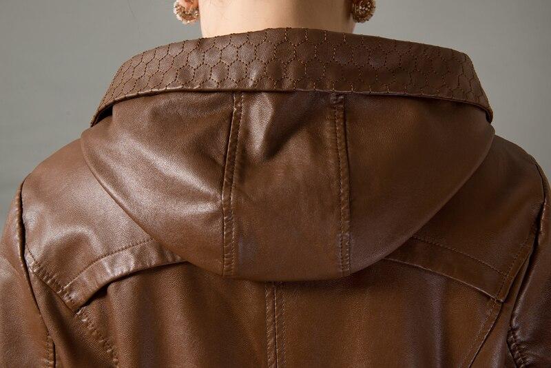Automne Taille Long Printemps 2019 Lâche color Femelle D'âge Noir 2 Et Cuir Grande Féminins Wertuiop En Moyen Veste Manteau OwtSSpq