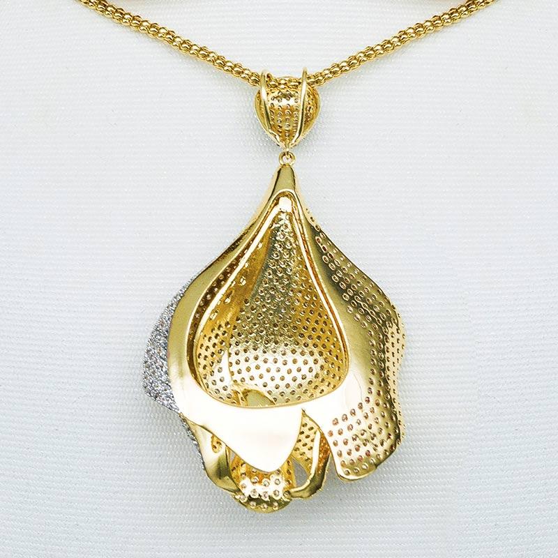 ModemAngel fleur de luxe Rose Micro zircon cubique femmes robe de mariée de mariage tous les jours collier boucle d'oreille ensemble de bijoux de mode - 6