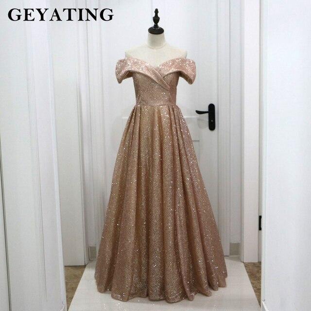 Rose Gold Champagne Shiny Sequins Off Shoulder Saudi Arabic Evening Dress 2018 Elegant Long Formal