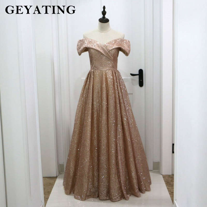 Rose Gold Champagne Shiny Sequins Off Shoulder Saudi Arabic Evening Dress  2019 Elegant Long Formal Prom Dresses In Dubai Luxury 466f4b8f200b