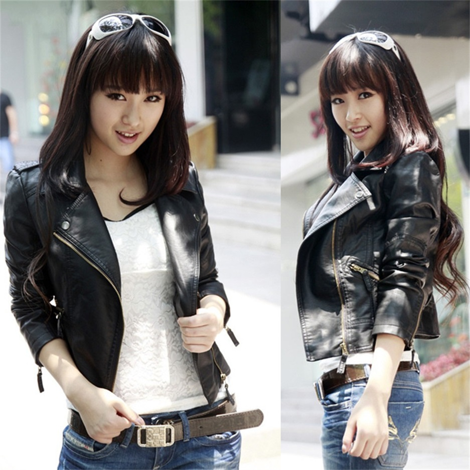 Spring and Autumn women 's new PU   leather   short paragraph women' s short jacket motorcycle clothes Slim   leather   jacket
