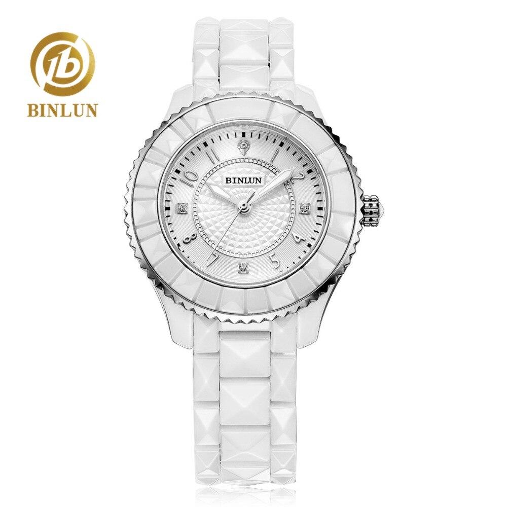 BINLUN femmes noir blanc montre à Quartz en forme de diamant 2018 plus récent en céramique Pure luxe cadran de diamant montre pour femme montres à Quartz