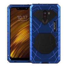 Funda de teléfono para Xiaomi Mi Pocophone F1, Protector de pantalla de vidrio templado de Metal y aluminio duro, silicona de protección resistente