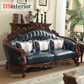 DSinterior mobiliário de estilo Americano sofá de couro genuíno conjunto combinação para sala de estar