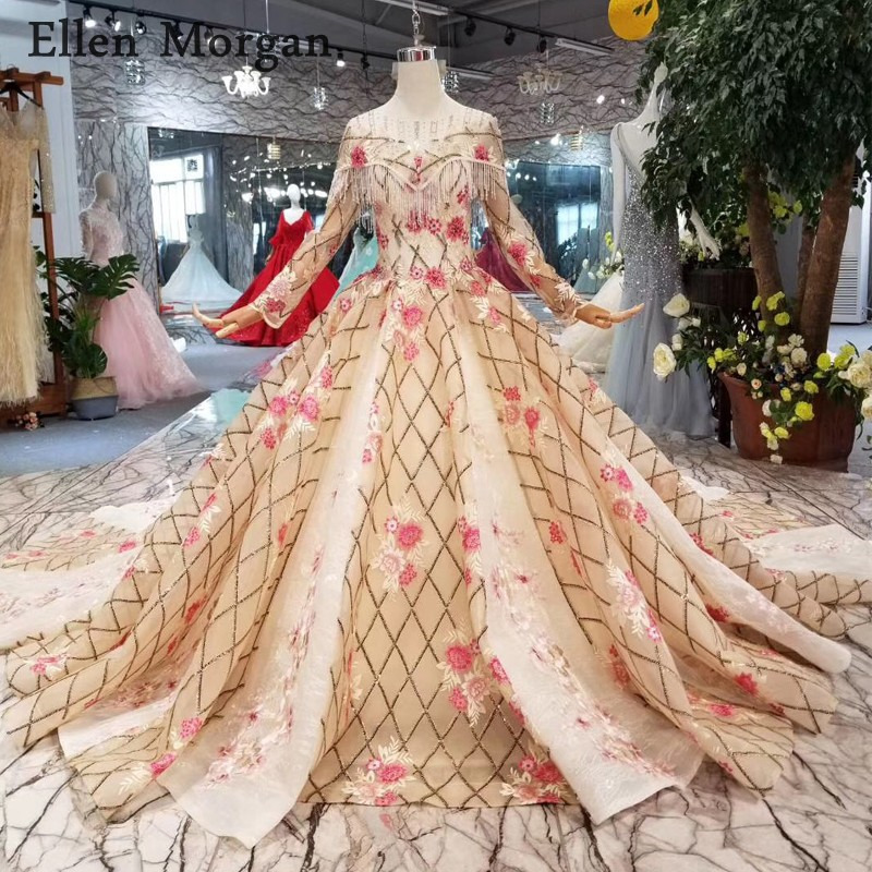 Champagne Long Sleeves Wedding Dresses 2019 Flowers Embroidery Chapel Train Real Photos Custom Made Saudi Arabian Bridal Gowns