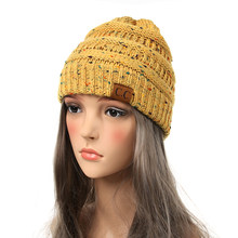 0a5e0db5c4e1c Drop Shipping New Fashion CC Warm Winter Hat For Women Ponytail Beanie  Women Stretch Cable Knit