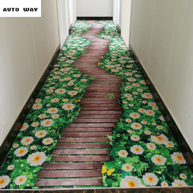 New 3D Carpet Kitchen Mats Flower Printing Mat Floating Window Mats Bedroom  Bathroom Floor Mat Non