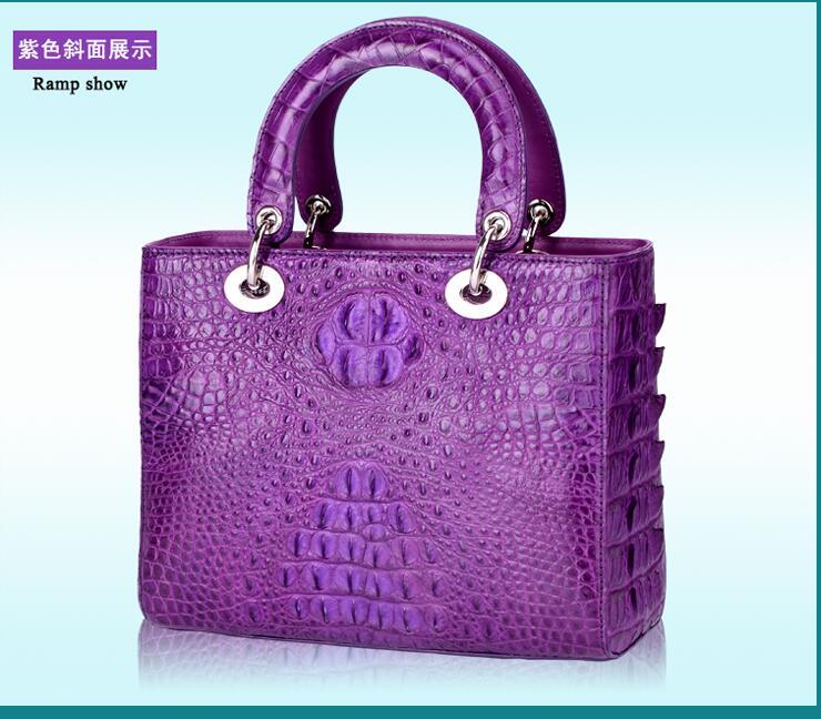 100% genuine crocodile skin leather double zipper clouse women handbag, Crocodile Skin Womens Clutch Tote Bag, Yellow and Brown