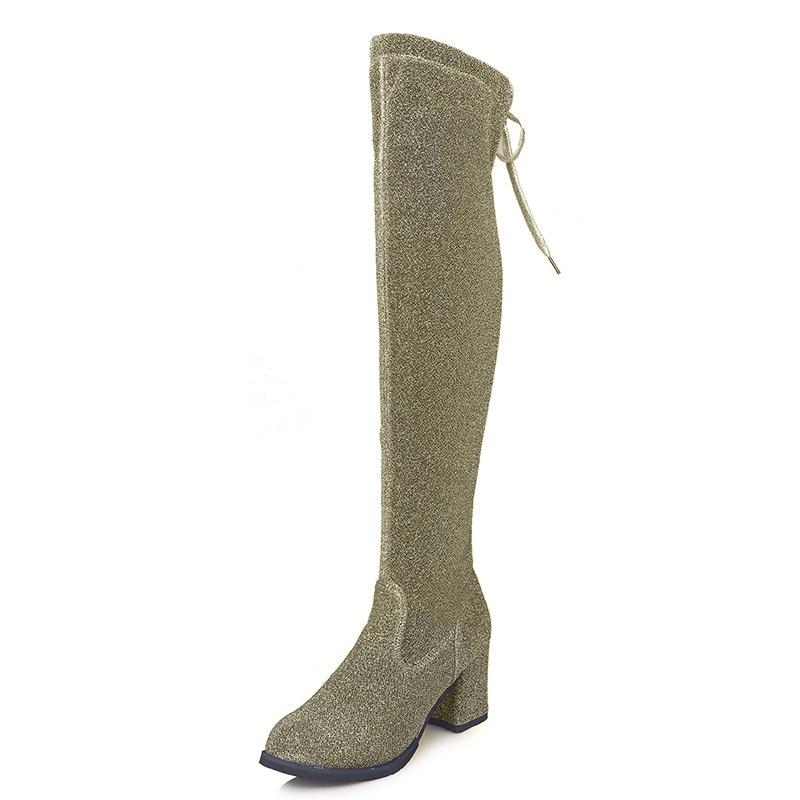 3 Zapatos Sobre Negro Botas La Sexy plata Tacones 2019 Up Rodilla Colores Oro De Lace Invierno oro Negro Plata Mujeres zZ47qwp
