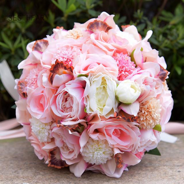 2018 Wedding Bouquets For Brides Artificial Wedding Flowers Outside ...