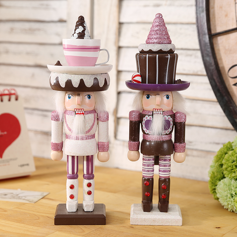 2pcs 25cm Shining Glitter Vintage Hand Made Orignal Wood Candy Nutcrackers  Beautiful Home Decoration Ornament The