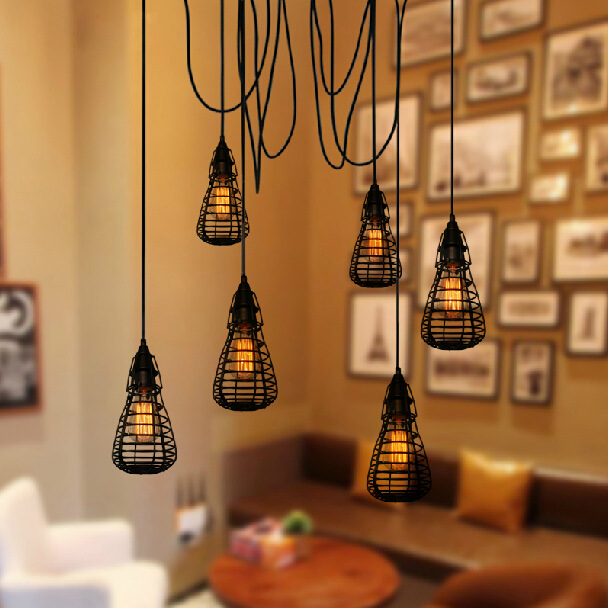 Single Head Vintage Retro Restaurant Pendant Lights For Dinning Room E27 Edison Bulb Industrial Loft Pendant Lamp WPL032 retro loft style industrial vintage pendant lights hanging lamps edison pendant lamp for dinning room bar cafe