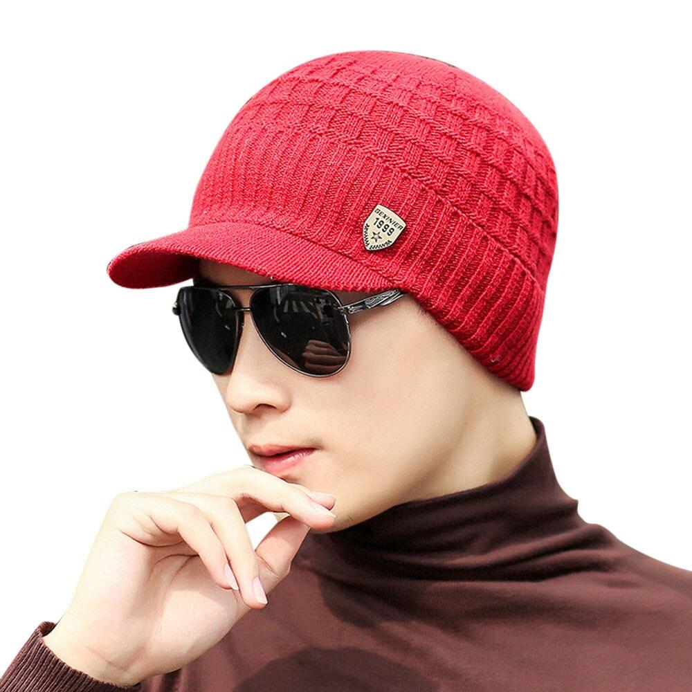 Mens Warm Baggy Weave Crochet Winter Wool Knitted Ski Baggy Beanie Caps Hat Gift
