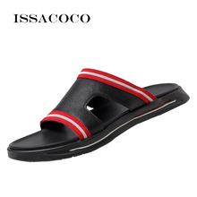 Shoes Men Summer Men Genuine Leather Slippers Flip Flops Sandals Outdoor Leisure Non-slip Men Home Slippers Zapatillas Hombre цена