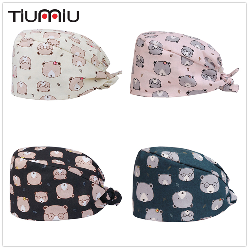 Hospital Dental Clinic Pediatrician Pure Cotton Medical Cap Surgical Cap Pink Little Bear Printing Medical Accessories Work Wear