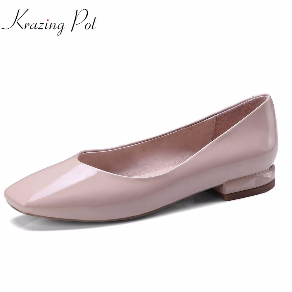 Krazing pot 2018 fashion pregnant square toe shallow genuine leather candy color slip on flats cozy summer comfortable shoes L16 krazing pot empty after shallow shoes woman lace work flats pointed toe slip on sheep suede causal summer outside slippers l16