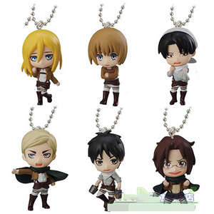 Japanese anime Attack on Titan swing collection 2 capsule toy Eren Jaeger Erwin Smith Levi Ackerman Zoe Lenz figure keychain(China)
