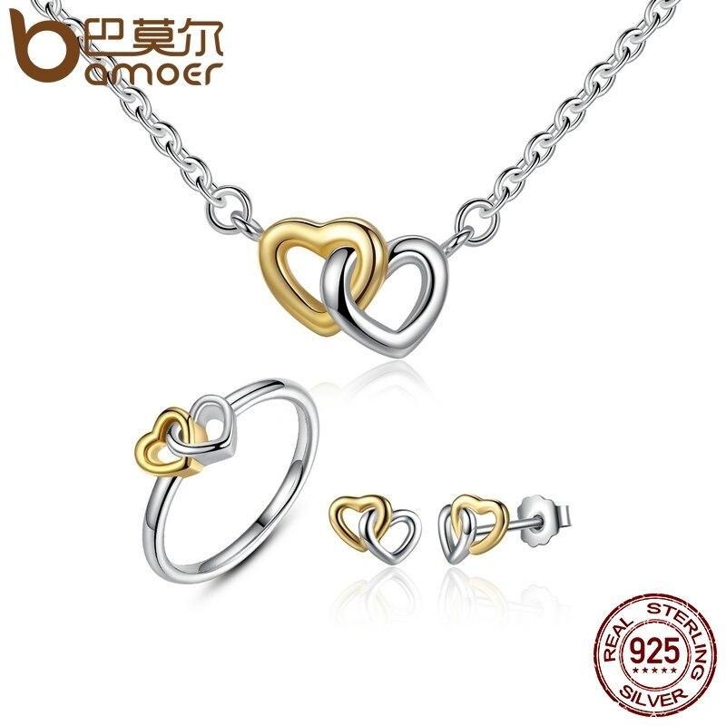 Brautschmuck Sets Modian 2017 Verkauf Solide 925 Sterling Silber Schmuck Set Klar Cz Unendliche Liebe Ring Klassische Stud Ohrringe Mode Halskette Kette