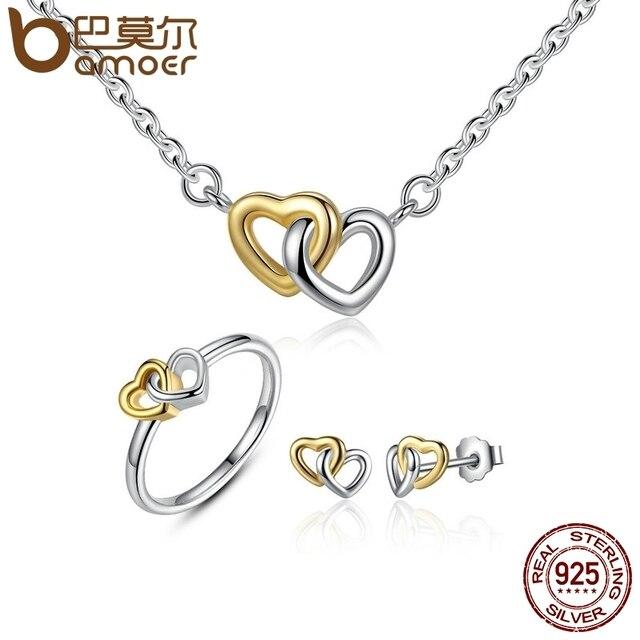 60c4d279a283 BAMOER genuino Plata de Ley 925 joyería nupcial conjunto corazón a conjuntos  joyas plata amp más ZHS016