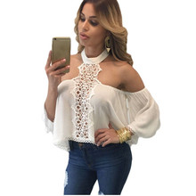 Women Blouses Sexy Off Shoulder White Lace Hollow Out Long Sleeve Blouse Summer Top Blusa Feminina