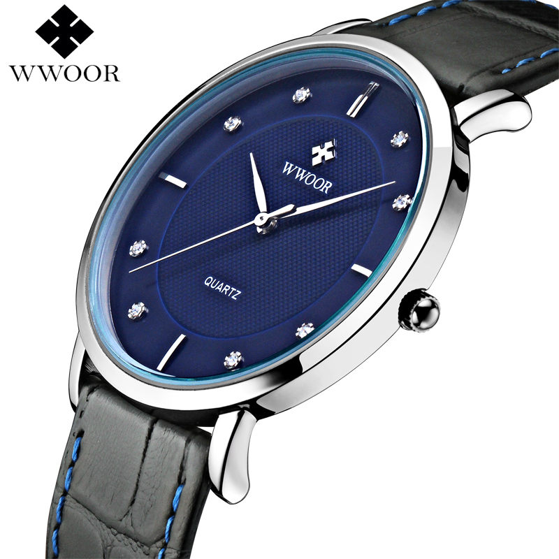 Top Brand Luxury WWOOR Men Waterproof Sports Watches Men's Quartz Ultra Thin Clock Male Genuine Leather Strap Casual Wrist Watch top brand luxury men watches men s quartz hour date clock male genuine leather strap casual sports wrist watch gold montre homme