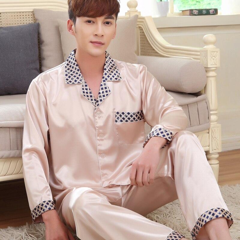 2017 summer elegant silk pyjamas mens satin pajamas full sleeve couple pajamas set silk pijama mens silk sleepwear