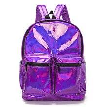 Mini Travel Bags Silver Blue Pink Laser Backpack Women Girls Bag PU Leather Holographic Backpack School Bags for Teenage Girls цена в Москве и Питере
