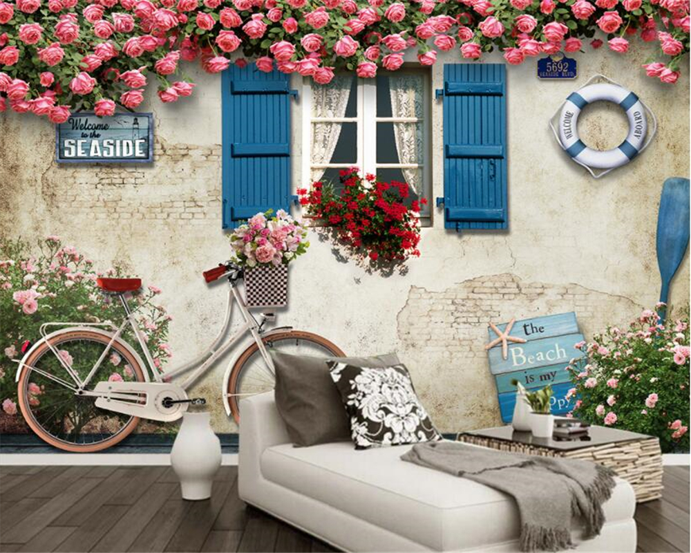 Beibehang Custom Wallpaper Mediterranean Window Rose Rose Lifebuoy