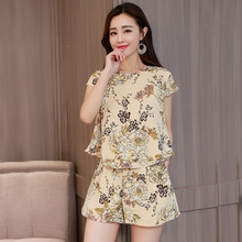 0e89830abd84 2 piece set women shorts summer top and pant mini outfit pants suits print  floral runway sets chiffon tracksuit casual clothes