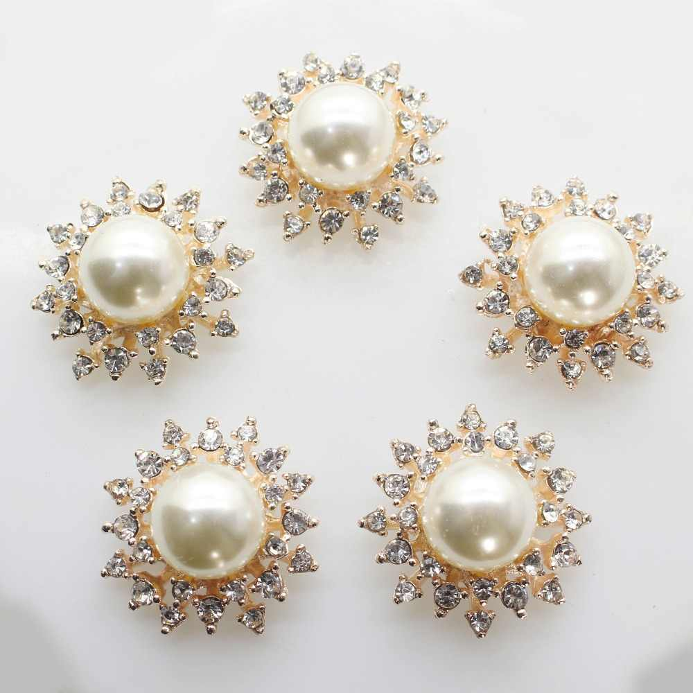 10Pcs Golden Alloy Rhinestones Butterfly Buttons for Crafts Decorations 16 mm