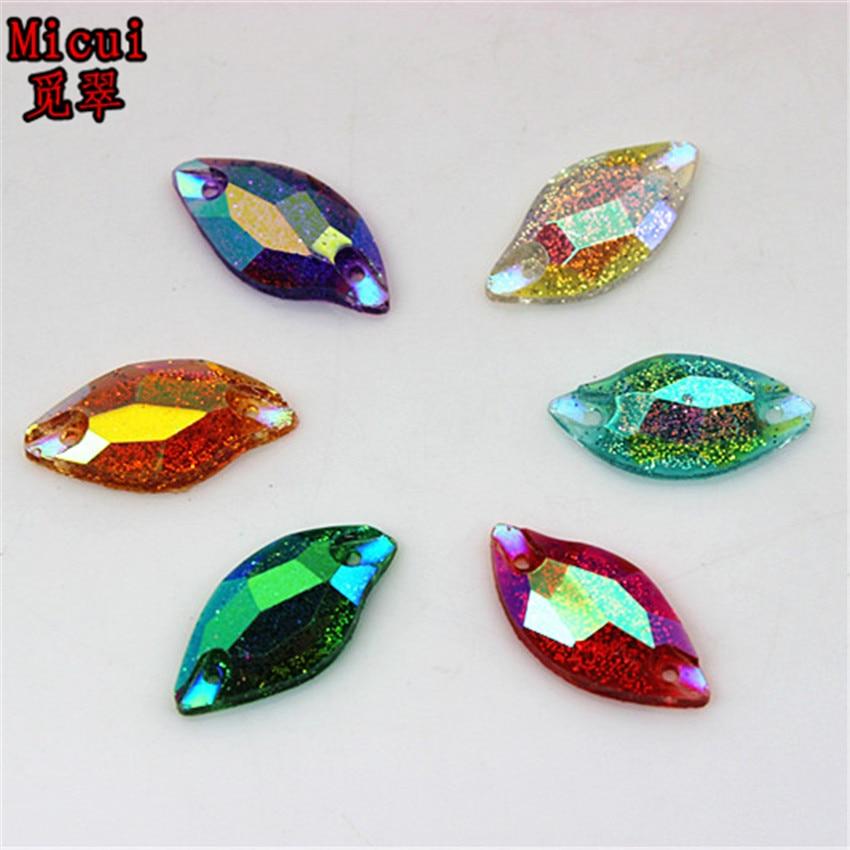 Micui 50 шт. 9*20 мм Новый лист Форма пришить Смола горный хрусталь Strass Crystal AB плоской задней швейные камни для Свадебные украшения ZZ408